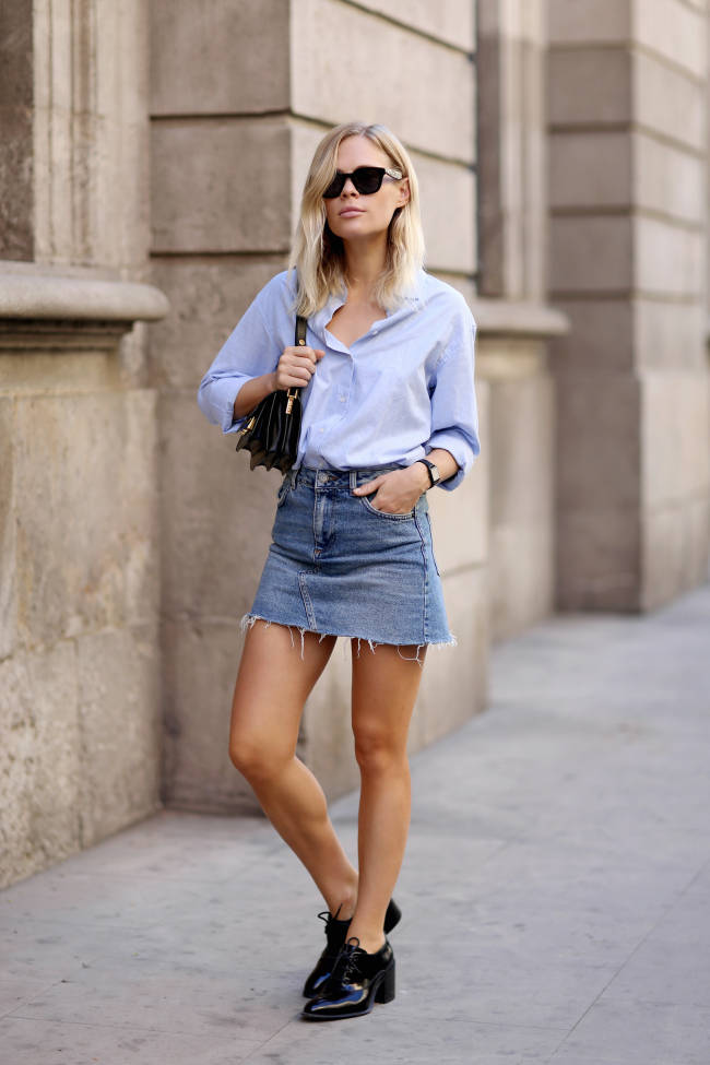 jessie bush Mia Moretti denim skirt edit seven stylebook