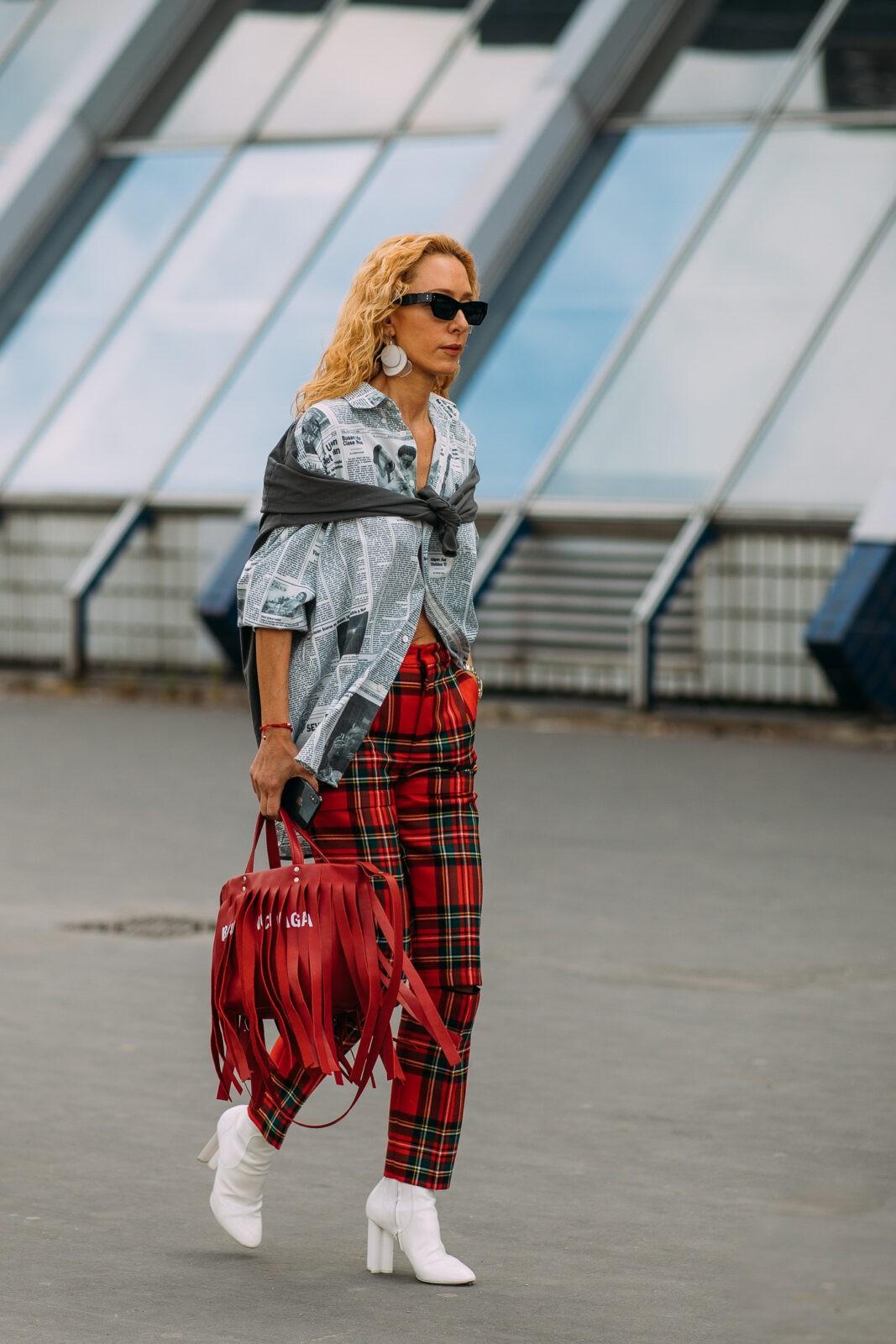 Elina Halimi Tartan pants edit seven stylebook