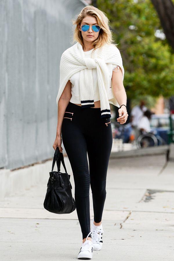 Gigi Hadid black leggings outfit
