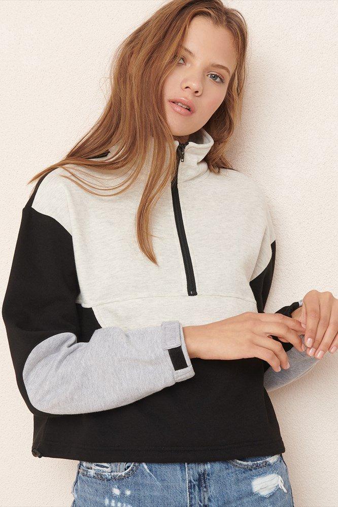 Garage Clothing Mock Neck Half Zip Sweatshirt