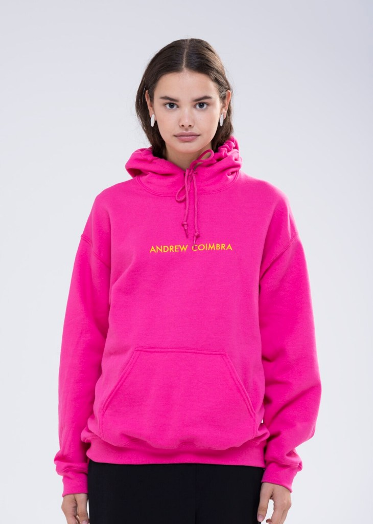 Andrew Coimbra Signature Embroidered Logo Hoodie - Fuchsia/Citron