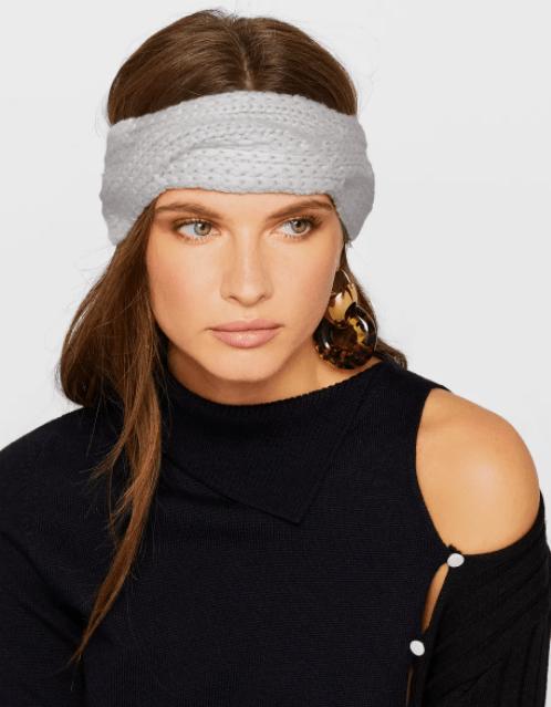 woman wearing knitted cashmere headband