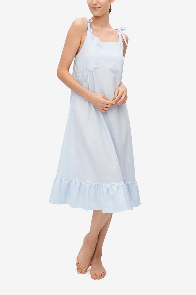 woman wearing a linen night dress from The Sleep Shirt