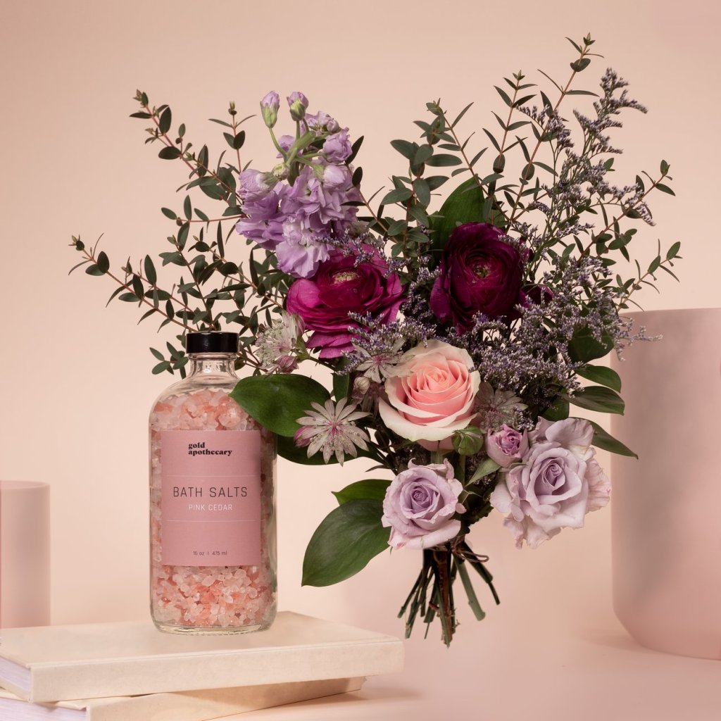 flower bouquet and bath salts from Wildhood x Gold Apothecary