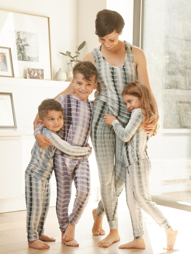 Mommy and kids wearing Pika Layers bamboo PJ sets