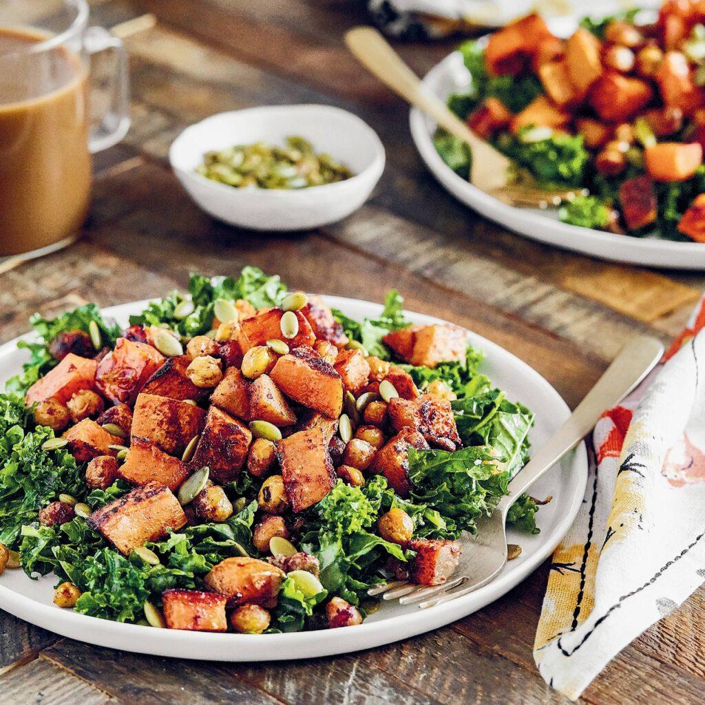 pumpkin spice salad recipe for fall by Angela Liddon