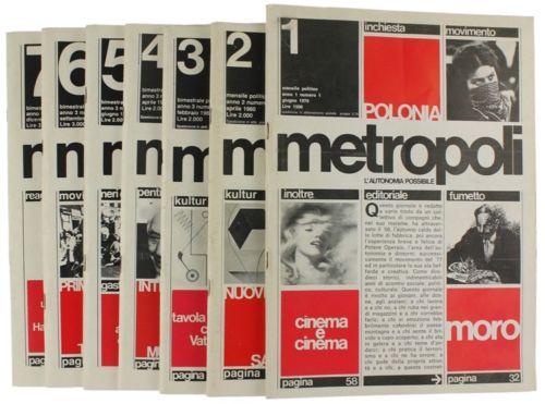 Con Metropoli, la rivista delle Autonomie, lo stile tipografico svizzero entra nella grafica underground ed il risultato è splendido