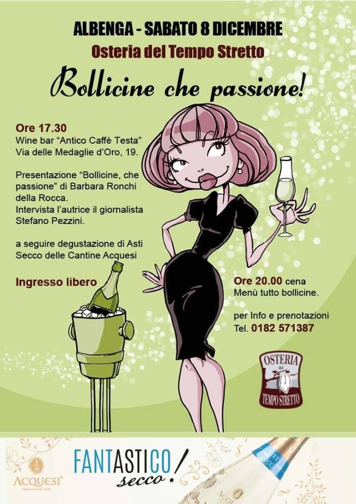 """8 Dicembre ad Albenga """"Bollicine, che passione!"""" con Barbara Ronchi Della Rocca"""