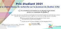 Prix étudiant 2021 de la Chaire-réseau de recherche sur la jeunesse du Québec