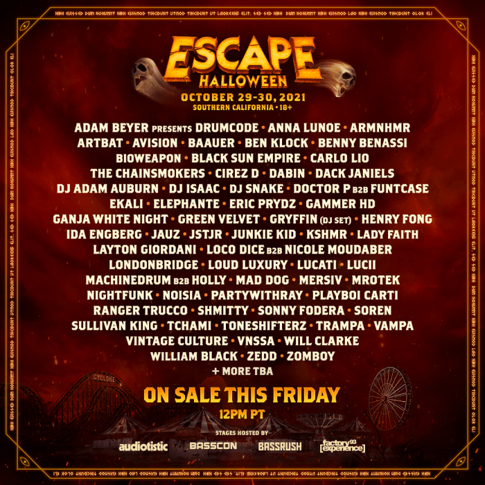 From topical to classic, we've got you covered! Insomniac Announces Escape Halloween 2021 Lineup - EDM.com - The Latest Electronic Dance Music ...