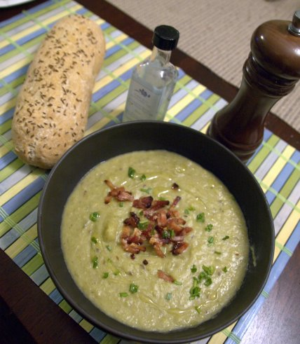 Nearly-vegan Potato-leek soup served with gluten-free/dairy-free bread.