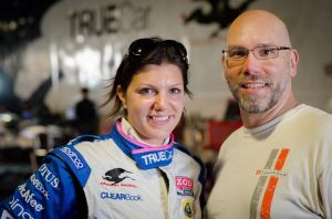 The author with IndyCar driver Katherine Legge
