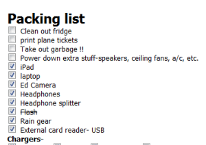 Create a packing list in Evernote before you even go