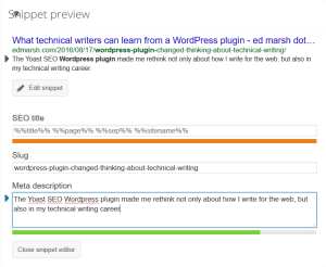 The Yoast SEO plugin snippet preview shows you how your post appears on Google.