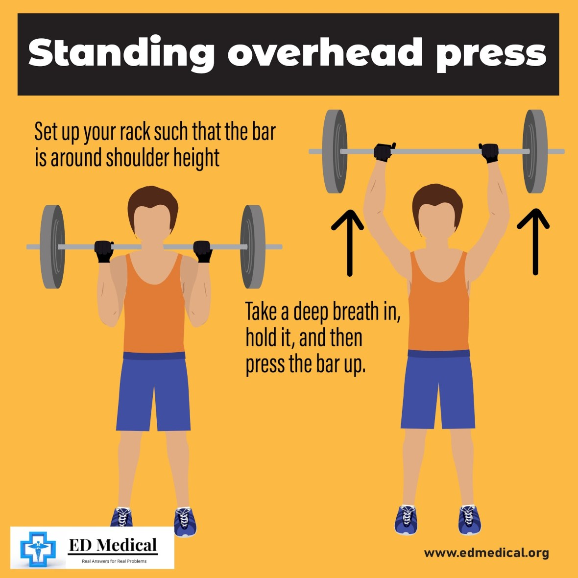 "Illustration on ""How to do Standing overhead press?"""