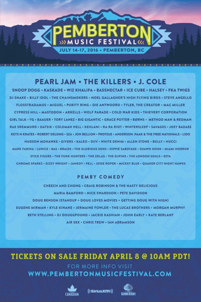 Pemberton Music Festival 2016 Lineup