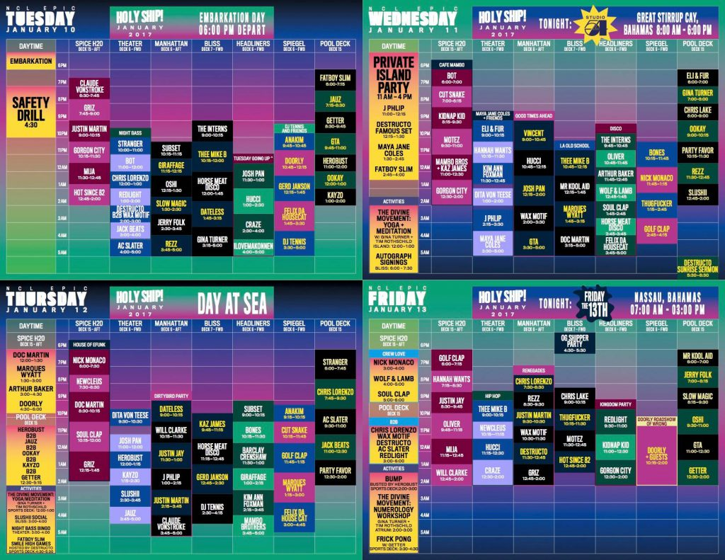 Holy Ship! 2017 9.0 Schedule