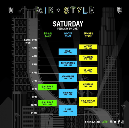 Air + Style LA 2017 Set Times Saturday