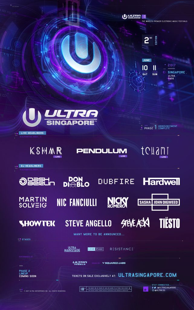 Ultra Singapore 2017 Phase One Lineup