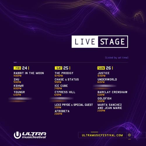 Ultra Music Festival 2017 Set Times - Live Stage