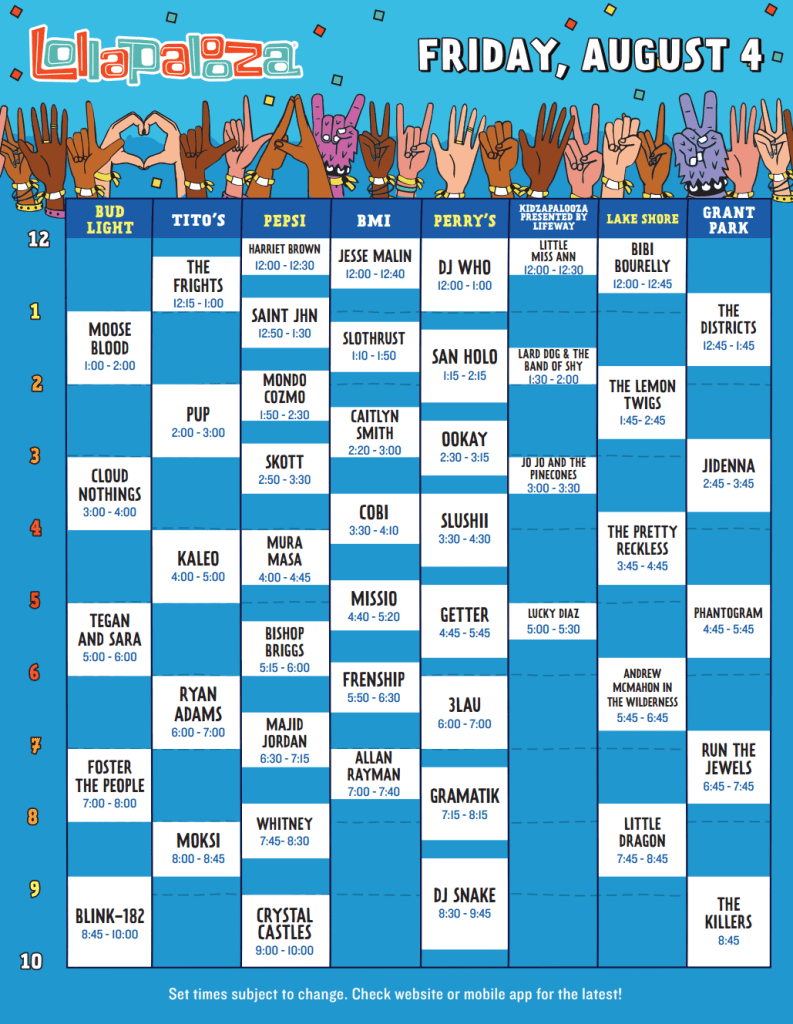 Lollapalooza 2017 Set Times - Friday