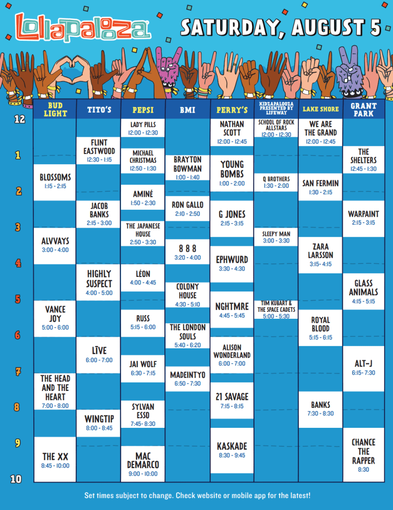 Lollapalooza 2017 Set Times - Saturday