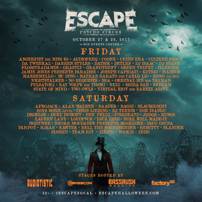 escape psycho circus 2017 daily lineups ticket info edm identity