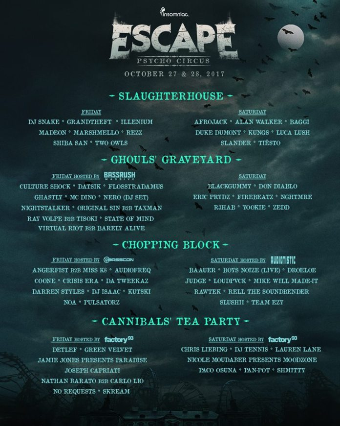Escape Psycho Circus 2017 Daily Stage Lineups