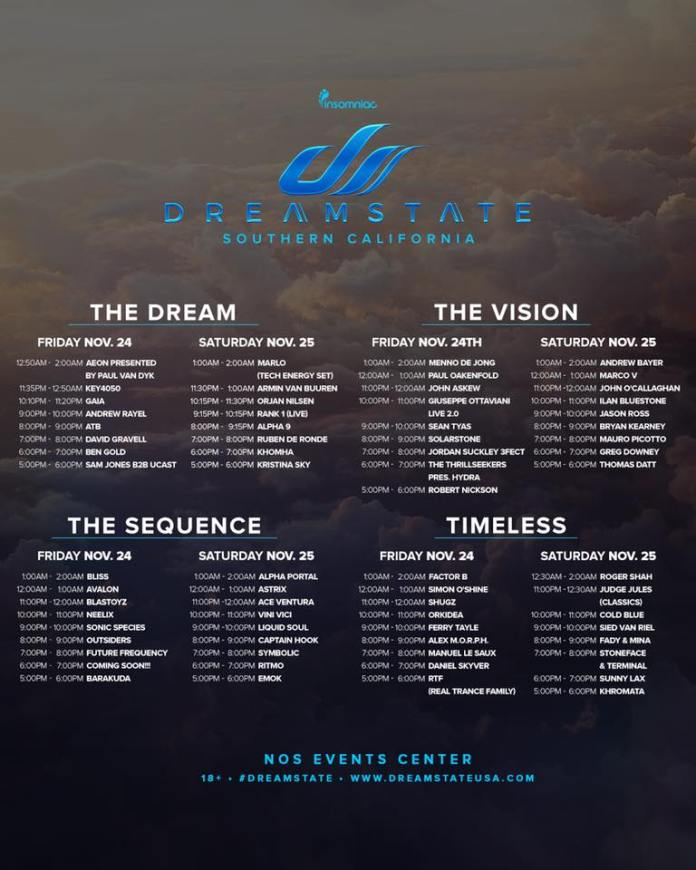 Dreamstate SoCal 2017 Set Times