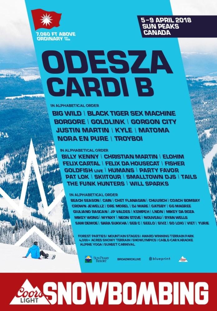Odesza cardi b to headline snowbombing canada 2018 edm identity snowbombing canada 2018 full lineup malvernweather Image collections