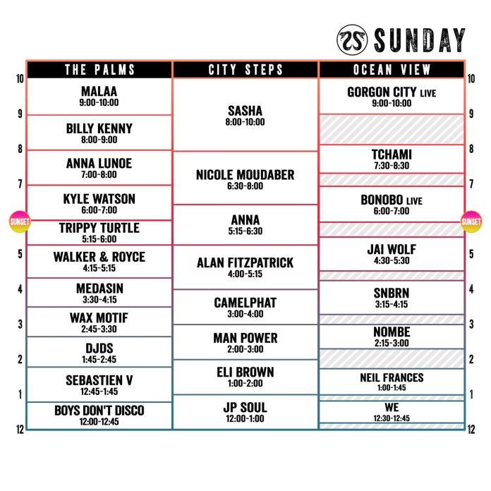 CRSSD Festival Spring 2018 Set Times Sunday