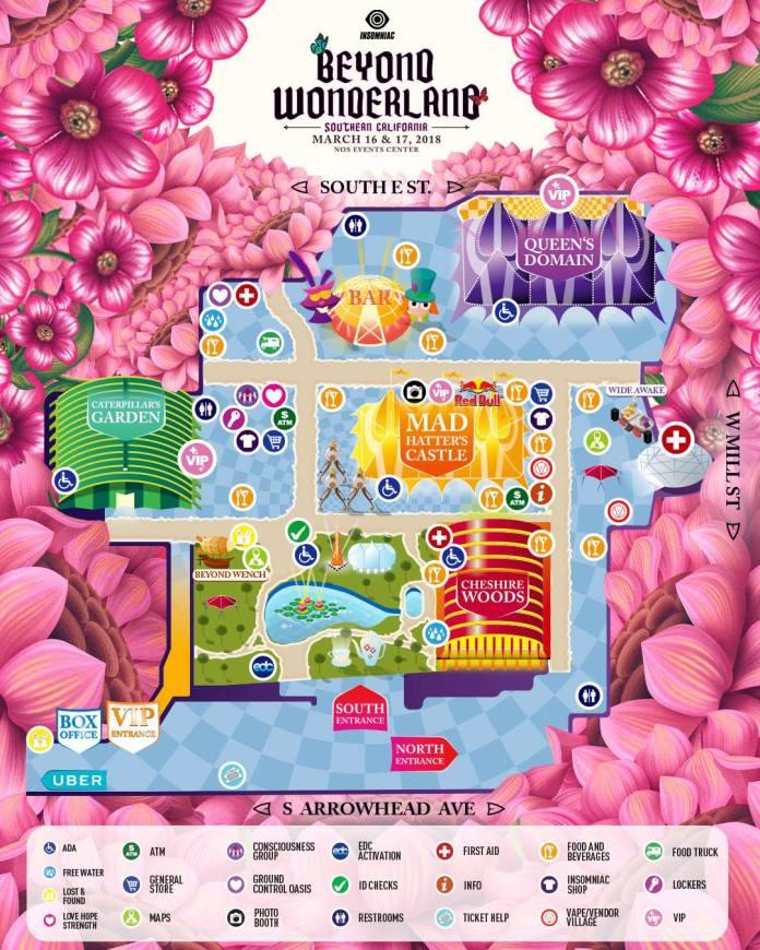 Beyond Wonderland SoCal 2018 Festival Map