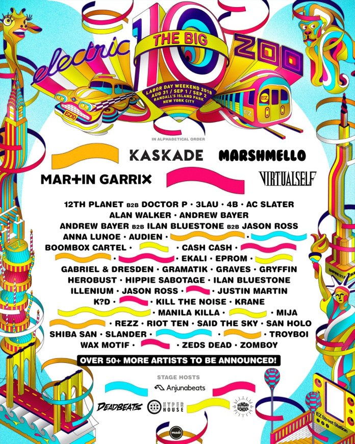 Electric Zoo 2018 Phase 1 Lineup