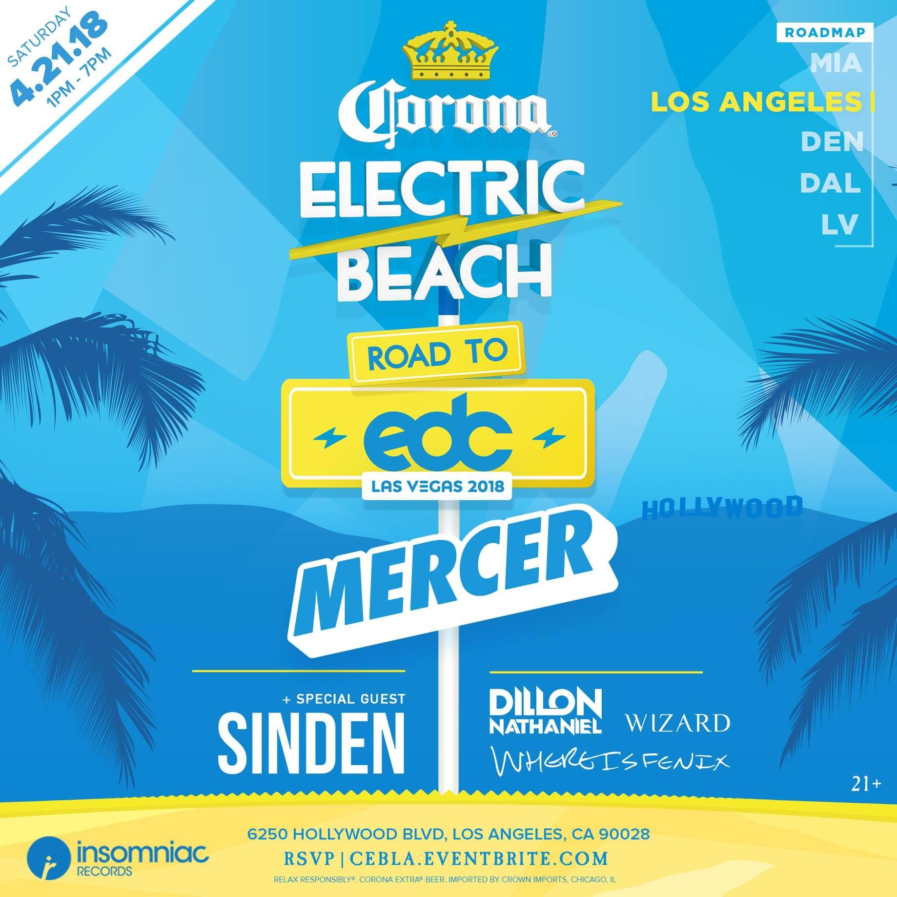 corona electric beach la 2018 flyer edm identity