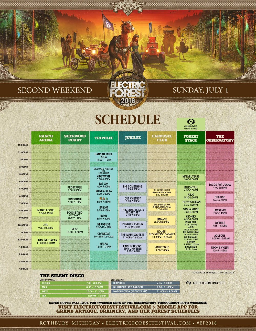 Electric Forest 2018 Wknd 2 Set Times Sunday