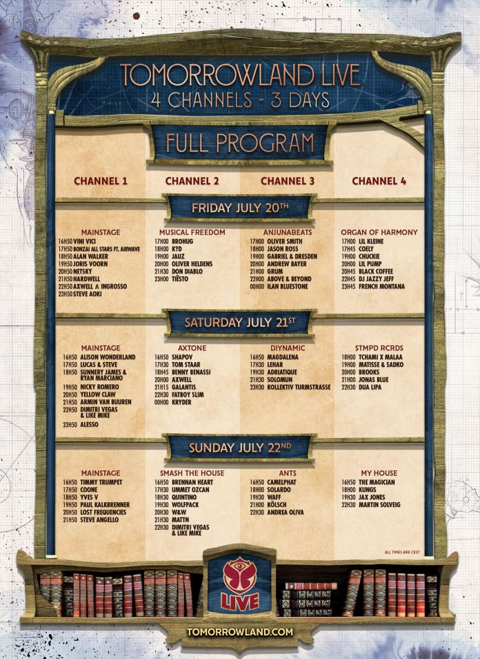 Tomorrowland 2018 Live Stream Schedule Weekend 1