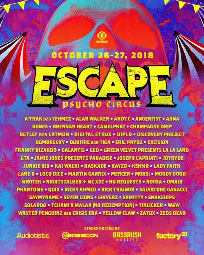 Escape Psycho Circus 2018 Lineup