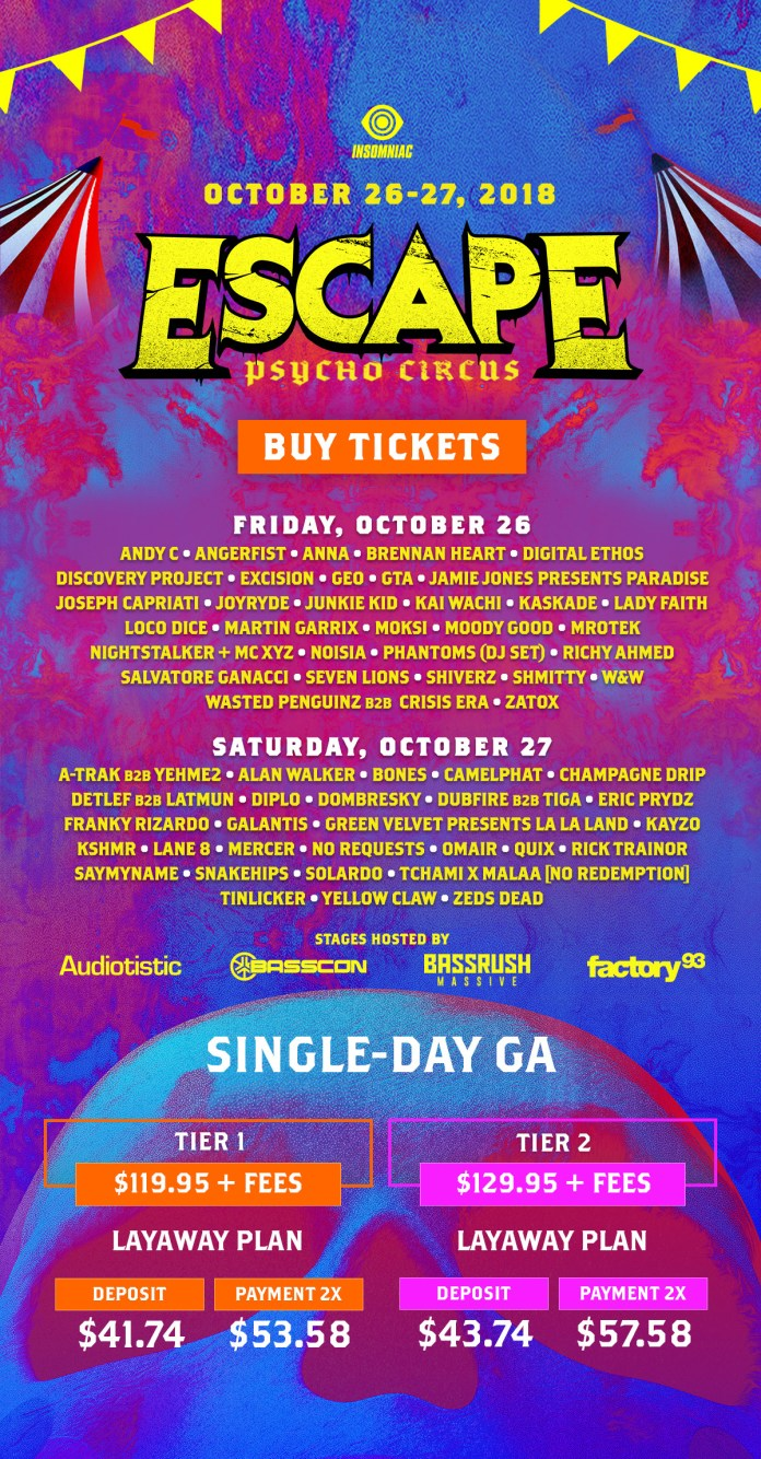 Escape: Psycho Circus 2018 Daily Lineups