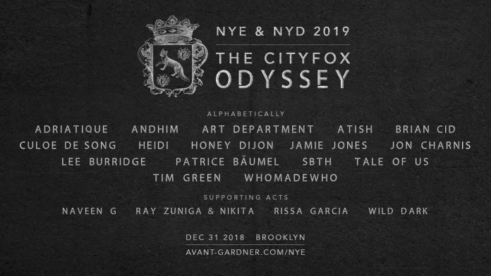 The Cityfox Odyssey: NYE & NYD 2019 Lineup