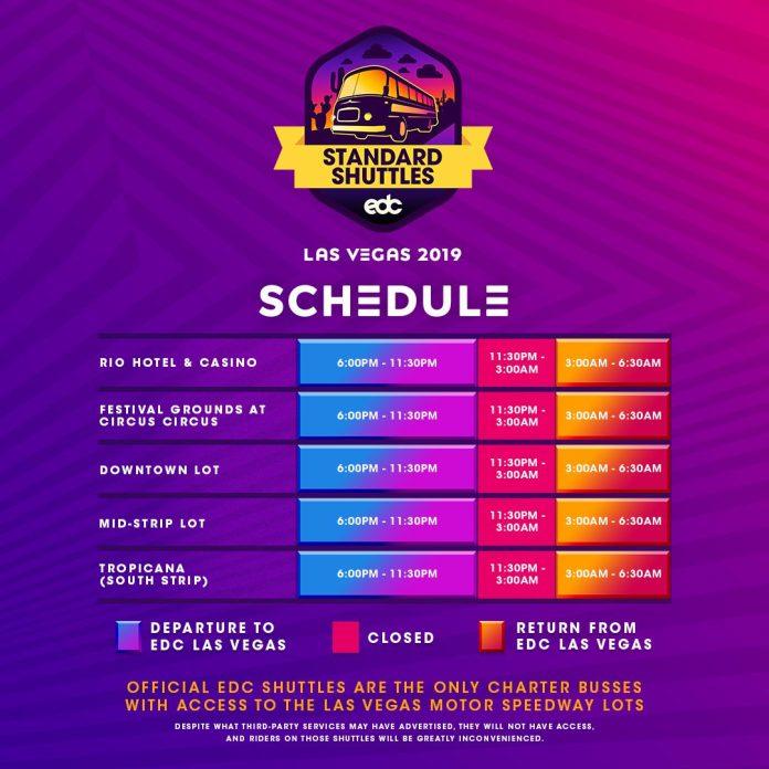 EDC Las Vegas 2019 Standard Shuttle Stops