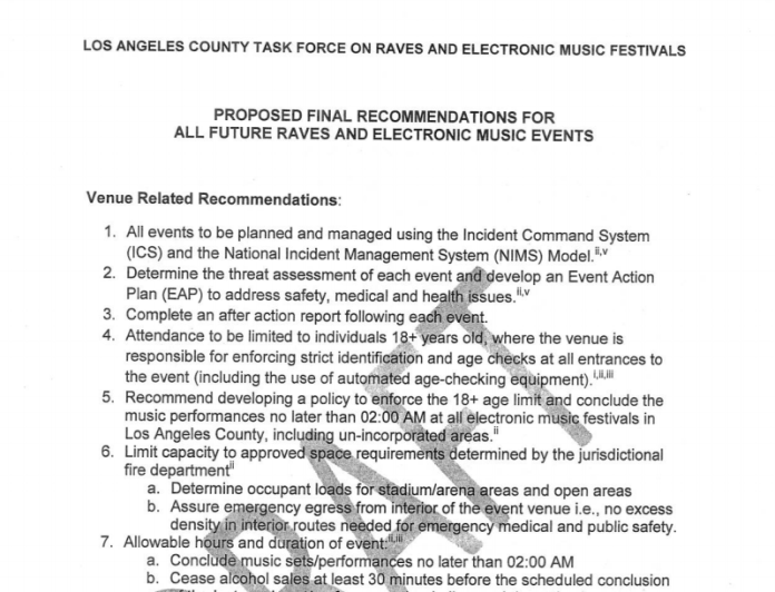 LA County Rave Task Force Guidelines