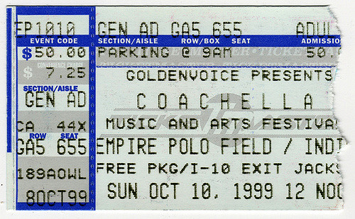 Coachella 1999 Festival Ticket