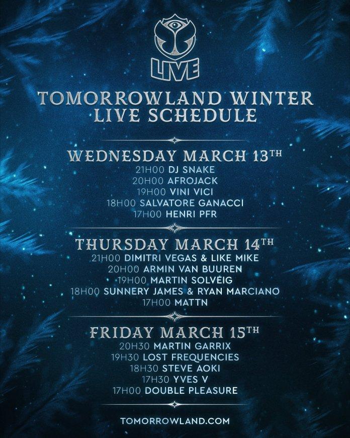 Tomorrowland Winter 2019 Live Schedule