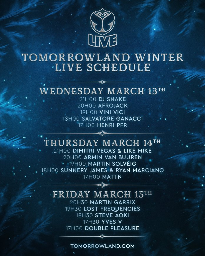 Tomorrowland Winter 2019 Live Schedule