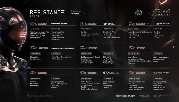 RESISTANCE Ibiza 2019 Season Lineup Calendar