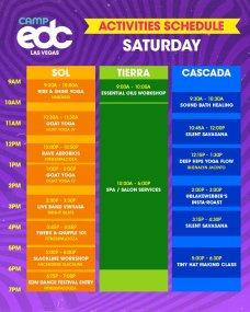 Camp EDC 2019 Activities Schedule - Saturday