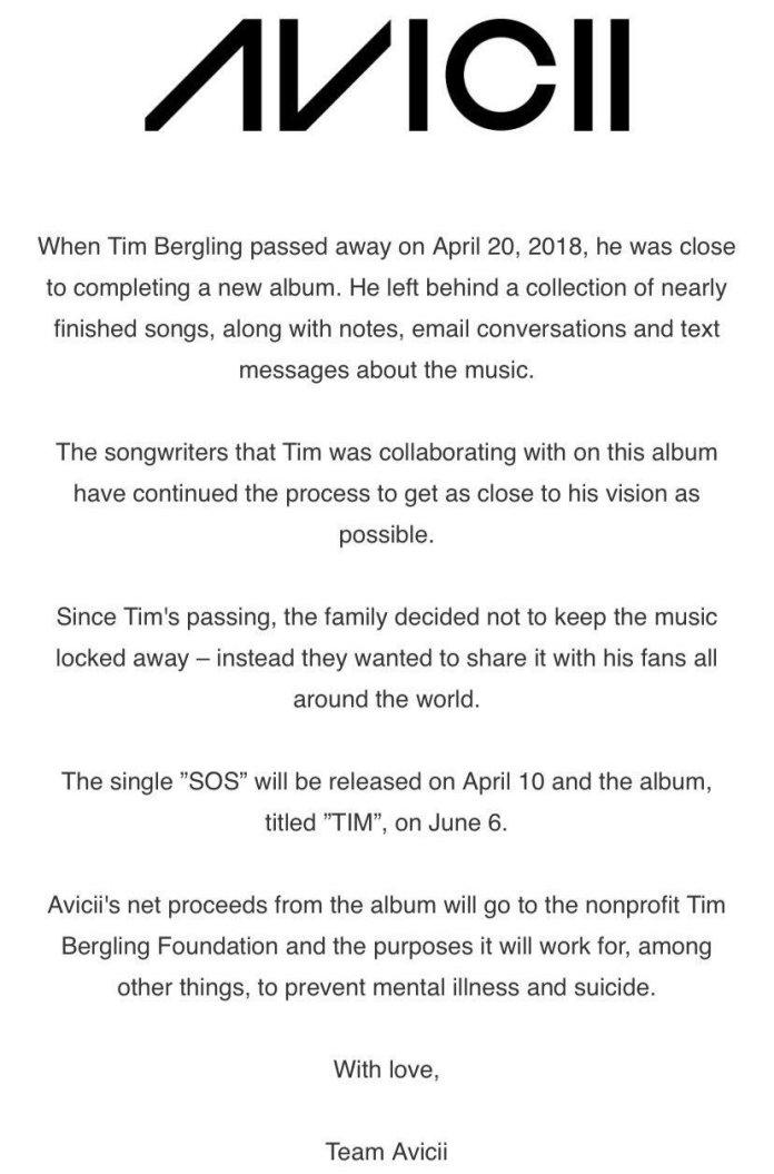 AVICII TIM Announcement