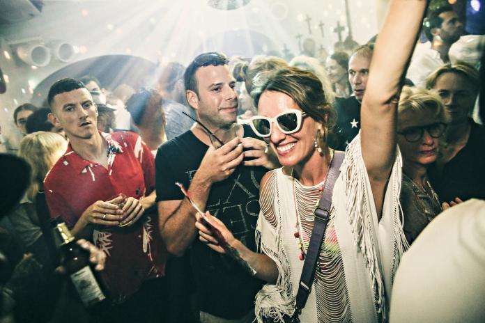 Older generation raver in Ibiza