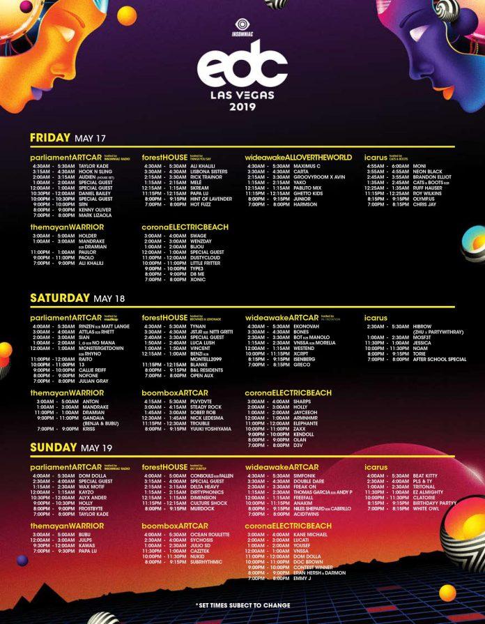 EDC Las Vegas 2019 Set Times - Art Cars