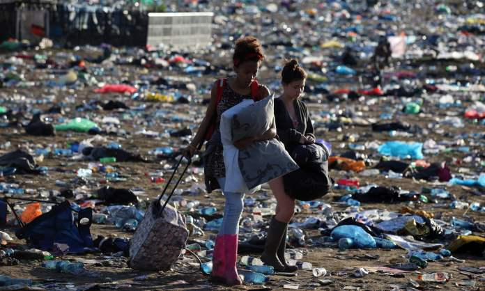 The Aftermath of Plastic Waste at Glastonbury 2017